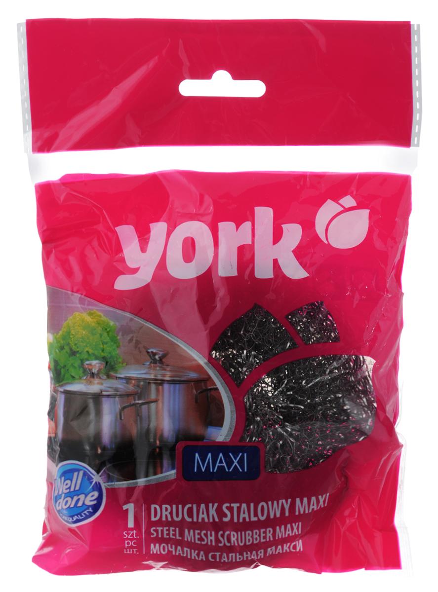 Губка для мытья посуды York Maxi10503Большая губка York Maxi изготовлена из стали и предназначена для очистки посуды и рабочих поверхностей от стойких загрязнений. Не рекомендуется использовать на деликатных поверхностях. Изделие не ржавеет, не колет руки, хорошо промывается под струей воды. Размер губки: 9 см х 9 см х 4 см.