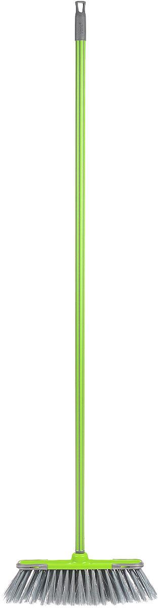 Щетка дл пола York Суприм, мягкая, с рукояткой, цвет: салатовый, длина 129 смU110DFЩетка York Суприм изготовлена из полипропилена и металла и предназначена для уборки сухого мусора. Ворс щетки мягкий. Черенок оснащен петлей, которая позволит повесить его на крючок, также универсальная резьба, подходит ко всем съемным швабрам-насадкам и щеткам.Такая щетка позволит качественно и быстро собрать мусор.Размер щетки: 34 см х 9 см.Длина ворса: 8 см.Длина черенка: 120 см.