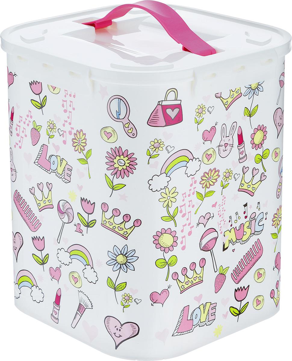 """Idea (М-пластика) Контейнер для хранения Idea """"Фанни"""", цвет: белый, светло-розовый, 10 л М 2829"""