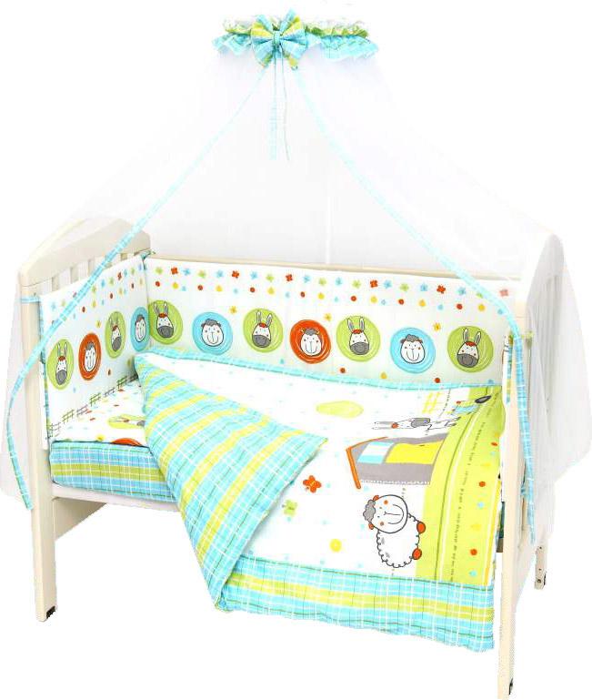 Топотушки Комплект детского постельного белья Ферма цвет зеленый белый 7 предметов4630008875469Комплект постельного белья из 7 предметов включает все необходимые элементы для детской кроватки. Комплект создает для Вашего ребенка уют, комфорт и безопасную среду с рождения; современный дизайн и цветовые сочетания помогают ребенку адаптироваться в новом для него мире. Комплекты «Топотушки» хорошо вписываются в интерьер как детской комнаты, так и спальни родителей. Как и все изделия «Топотушки» данный комплект отражает самые последние технологии, является безопасным для малыша и экологичным. Российское происхождение комплекта гарантирует стабильно высокое качество, соответствие актуальным пожеланиям потребителей, конкурентоспособную цену. Балдахин 4,5м (сетка); охранный бампер 360х40см. (из 4-х частей, наполнитель – холлофайбер); подушка 40х60см. (наполнитель – холлофайбер); одеяло 140х110см. (наполнитель – холлофайбер); наволочка 40х60см; пододеяльник 147х112см; простынь на резинке 120х60см
