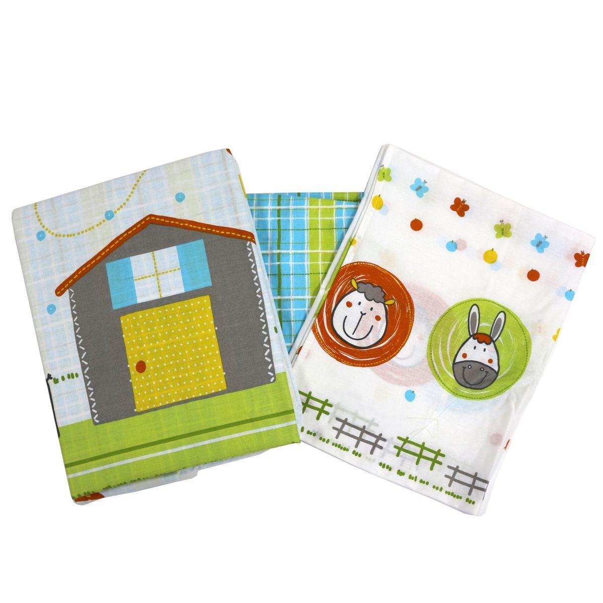 Топотушки Комплект детского постельного белья Ферма цвет зеленый белый 3 предмета