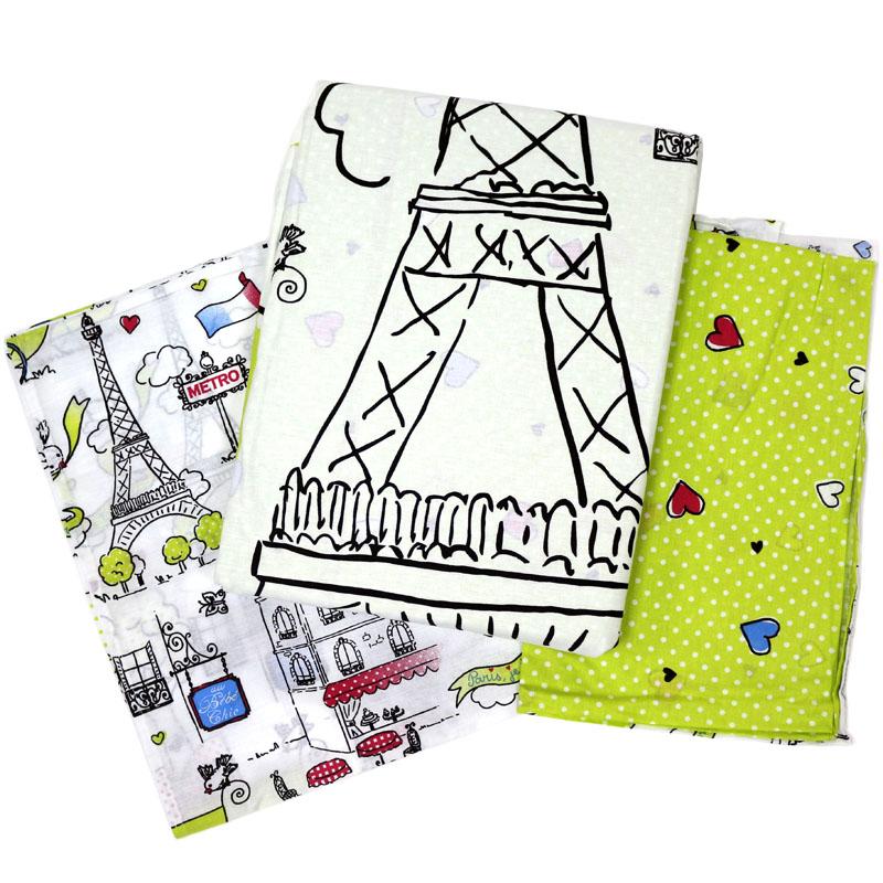 Топотушки Комплект детского постельного белья Париж цвет зеленый белый 3 предмета