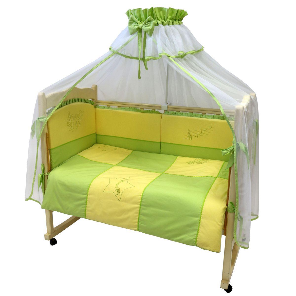Топотушки Комплект детского постельного белья До-Ре-Ми цвет салатовый желтый 7 предметовS03301004Комплект постельного белья из 7 предметов с вышивкой включает все необходимые элементы для детской кроватки.Комплект создает для Вашего ребенка уют, комфорт и безопасную среду с рождения; современный дизайн и цветовые сочетания помогают ребенку адаптироваться в новом для него мире. Комплекты «Топотушки» хорошо вписываются в интерьер как детской комнаты, так и спальни родителей.Как и все изделия «Топотушки» данный комплект отражает самые последние технологии, является безопасным для малыша и экологичным. Российское происхождение комплекта гарантирует стабильно высокое качество, соответствие актуальным пожеланиям потребителей, конкурентоспособную цену.Балдахин 5м (сетка цветная); охранный бампер 360х50см (из 4-х частей, на молнии,наполнитель – холлофайбер); подушка 40х60см. (наполнитель – холлофайбер); одеяло 140х110см. (наполнитель – холлофайбер); наволочка 40х60см; пододеяльник 147х112см; простынь на резинке 120х60см.