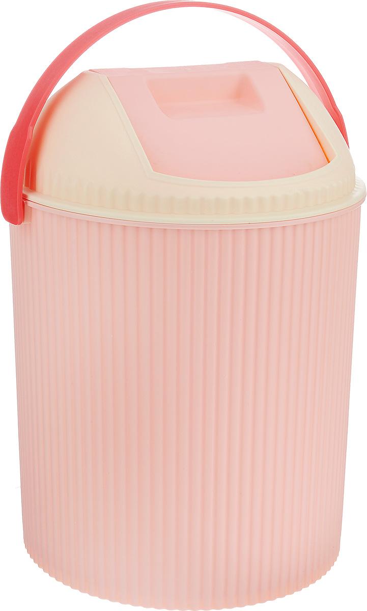 Ведро для мусора Изумруд, с крышкой, цвет: розовый, 20 л ведро эмалированное кмк с крышкой с поддоном 10 л
