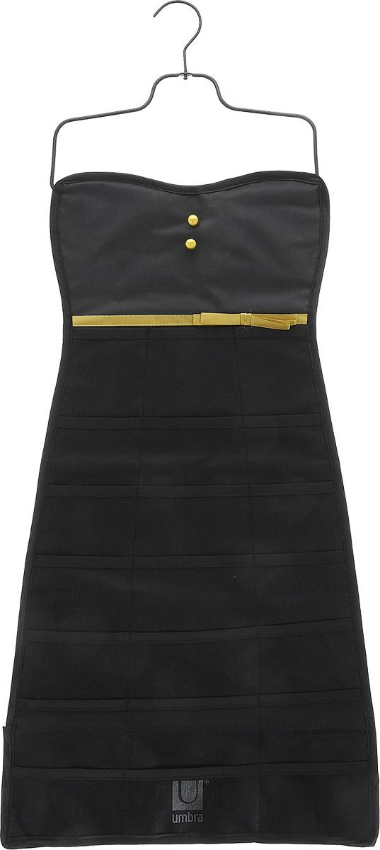 Органайзер для украшений Umbra Bow Dress, цвет: черный, 34 см х 78,7 см299045-042Органайзер для украшений Umbra Bow Dress изготовлен из полиэстера. Изделие имеет 21 сетчатый карман, на оборотной стороне - 19 петель для бус, цепочек, браслетов, часов и массивных сережек. Металлический крючок позволит повесить органайзер в любом понравившемся вам месте. Органайзер поможет аккуратно хранить украшения, держать их в порядке, и вы никогда их не потеряете. Средний размер кармана: 8,5 см х 6 см.