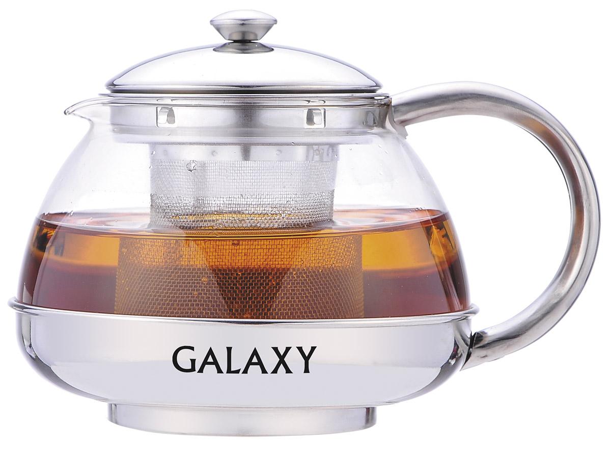 Чайник заварочный Galaxy, с ситечком, 750 мл. GL9351VT-1520(SR)Заварочный чайник Galaxy поможет приготовить вкусный и ароматный чай. Корпус выполнен из высококачественной нержавеющей стали, а колба - из жаропрочного боросиликатного стекла. Чайник снабжен съемным металлическим ситечком. Пластиковая мерная ложка в комплекте. Можно мыть в посудомоечной машине. Диаметр (по верхнему краю): 8 см. Высота чайника (без учета крышки): 9,5 см. Длина ложки: 10 см. Высота ситечка: 7 см.
