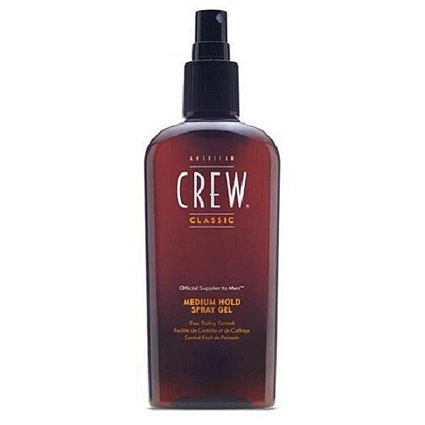 American Crew Спрей-гель для волос средней фиксации Classic Medium Hold Spray Gel 250 млБ33041_шампунь-барбарис и липа, скраб -черная смородинаСпрей-гель для волос средней фиксации Classic Medium Hold Spray Gel позволит создать прическу любой формы и сложности. Средство помогает мягко придать волосам форму, не делая их жесткими, увеличивает объем прически благодаря воздействию на волосы витамина В5. Особая формула спрей-геля для укладки Medium Hold не оставляет никаких следов на волосах и одежде. Находка для тонких волос, которые теперь выглядят утолщенными и более здоровыми. Средство не вызывает дискомфорта и сухости кожи головы благодаря отсутствию спирта и низкому уровню pH.