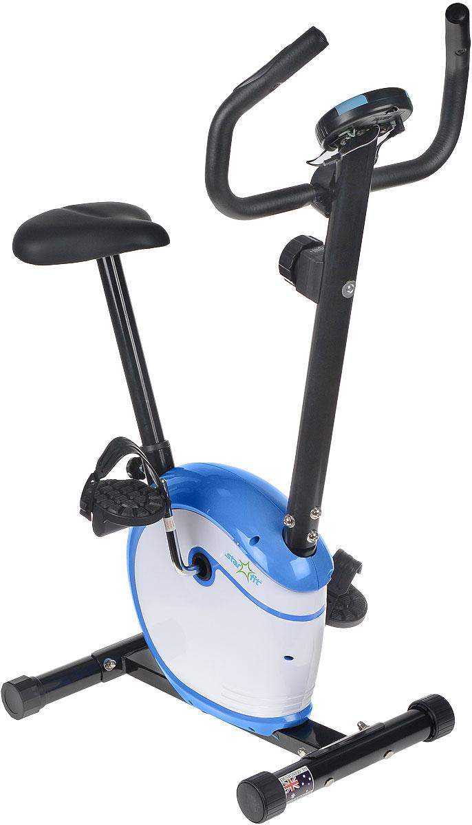Велотренажер Starfit BK-101 Magic, магнитныйУТ-00007567Велотренажер BK-101 Magic, магнитный - это удобная эргономичная модель от популярного бренда Star Fit. Велотренажер BK-101 Magic с более мягкой плавностью хода, обеспечивает наиболее похожую симуляцию езды на настоящем велосипеде. Модель рассчитана на любителей и продвинутых пользователей. Дизайн всех моделей тренажеров марки Star Fit разработан австралийским дизайнерским бюро. В комплект поставки включена русскоязычная инструкция по сборке и эксплуатации тренажера. Максимальный вес пользователя, кг: 100, Вес тренажера, кг: 16,5 Вес маховика, кг: 2,5 Дополнительные характеристики: Дисплей: LCD (время, скорость, дистанция, калории, пульс, питание компьютера - сеть) Изменение пульса: есть, датчики пульса на руле (встроенные) Количество уровней нагрузки: 8