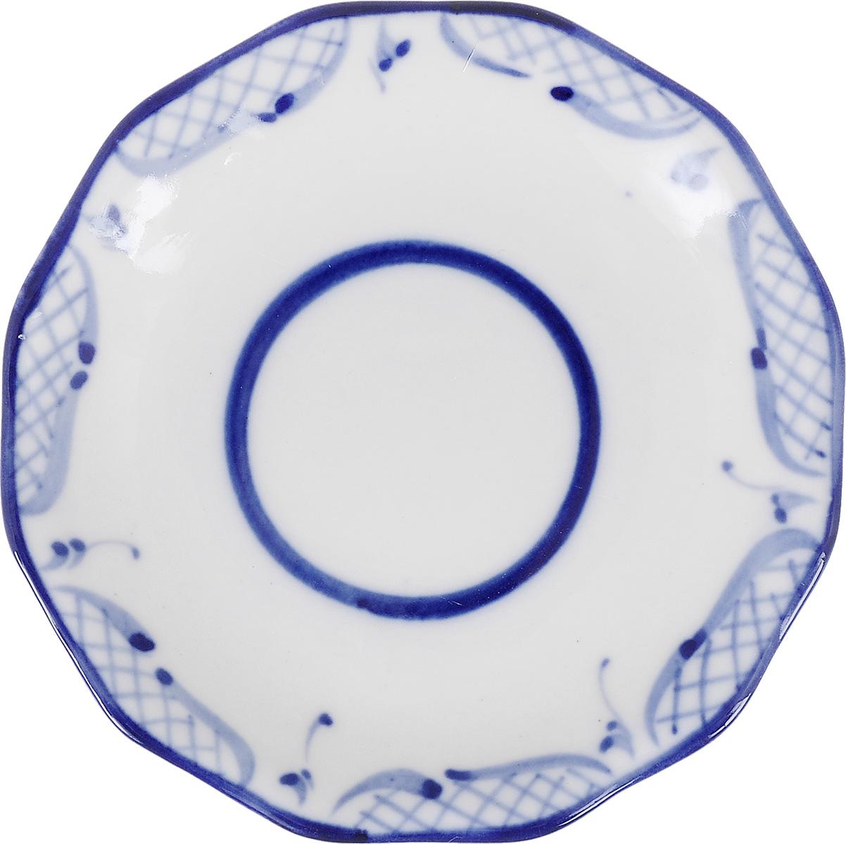Блюдце Идиллия, цвет: белый, синий993052101