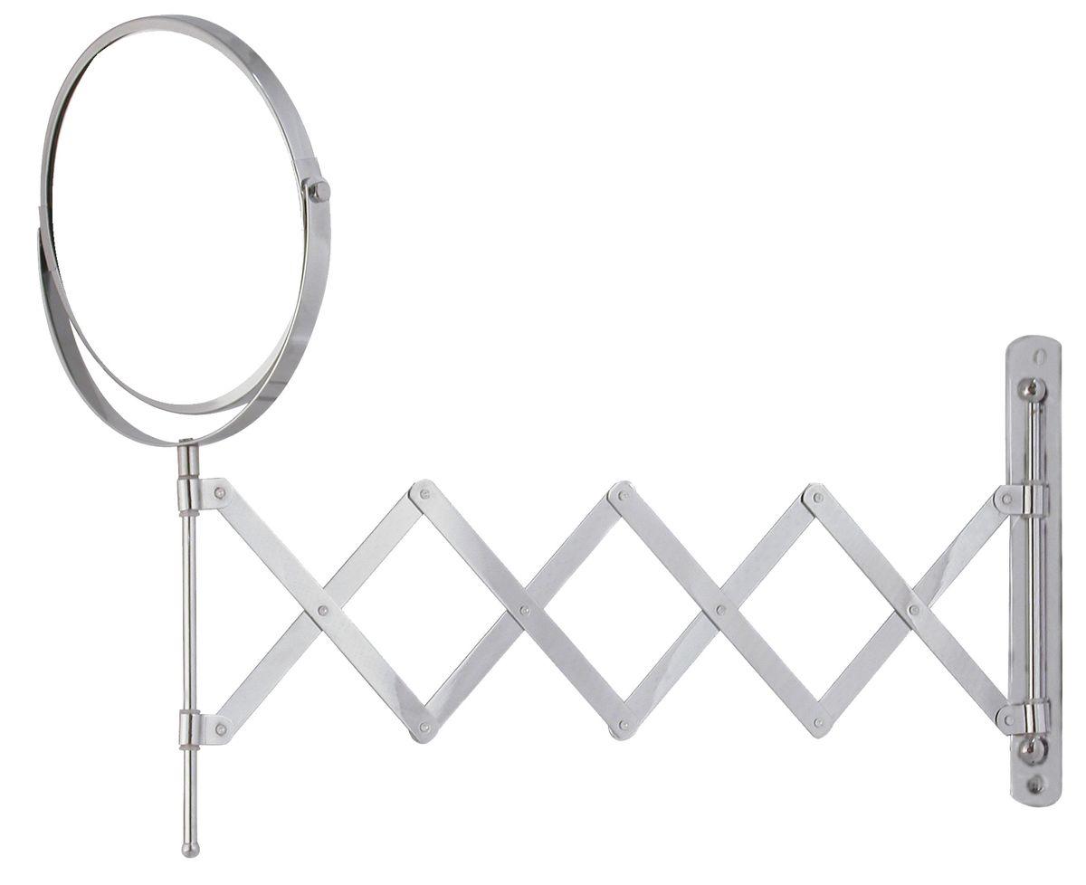 Зеркало косметическое Vanstore, раскладное, диаметр 17 см502-90Двустороннее выдвижное зеркало Vanstore изготовлено из хромированной стали. Выдвигается на 55 см, дизайн крепления выполнен в виде гармошки. Геометрические искажения отсутствуют. Одна сторона имеет увеличение. Крепится на стену с помощью 2 шурупов (входят в комплект). Диаметр зеркала: 17 см. Максимальная длина раскладывания: 55 см.