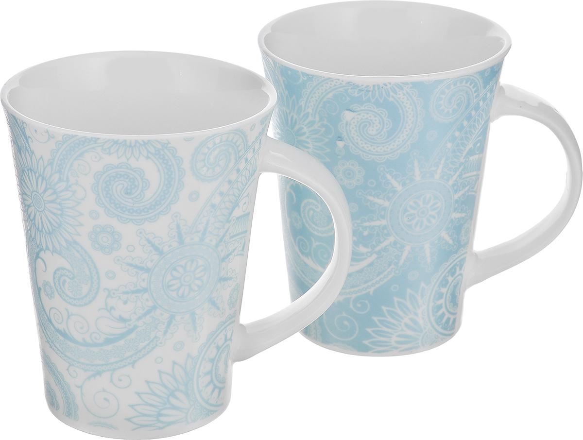 Набор кружек Elan Gallery Цветы и завитушки, цвет: белый, голубой, 320 мл, 2 шт кружки elan gallery набор кружек цветы белые капучино