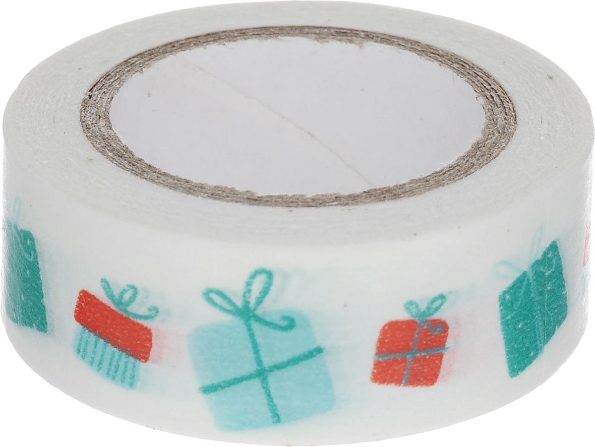 Скотч декоративный ScrapBerrys Подарки, 1,5 х 800 см7714658Декоративный скотч ScrapBerrys Подарки выполнен из плотной бумаги с оригинальным рисунком. Такой скотч прекрасно подойдет для декора и оформления творческих работ в технике скрапбукинг или флористика, а также для изготовления бантиков, украшения подарочных коробок, открыток и многого другого. Яркий дизайнерский скотч разнообразит вашу работу и добавит вдохновения для новых идей. Ширина скотча: 1,5 см. Длина скотча: 8 м.