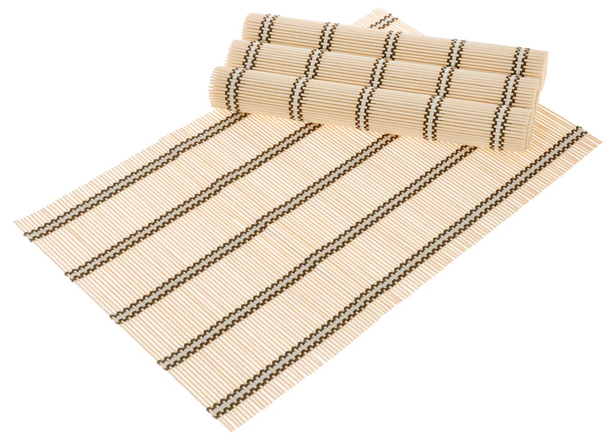 Набор салфеток для сервировки Bravo, цвет: бежевый, коричневый, 30 х 45 см, 4 шт181Набор Bravo состоит из 4 бамбуковых салфеток. Салфетки из бамбука используются для сервировки стола в качестве подложки под столовые приборы, а также подставок под горячее. Изделия предохраняют поверхность стола от механических воздействий и загрязнений. Могут использоваться как элемент декора, создавая особую атмосферу уюта и тепла. Очень практичны и просты в уходе, долговечны, легко моются и не впитывают запахи, и кроме того, обладают антиаллергенными и антимикробными свойствами.