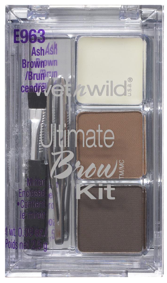 Wet n Wild Набор Для Бровей Ultimate Brow Kit ash brown 3 грE963Включает в себя встроенное зеркало. Ты можешь на ходу подправить макияж! Аккуратно аппликатором нанести на брови тени для бровей и зафиксировать результат гель-воском для бровей.