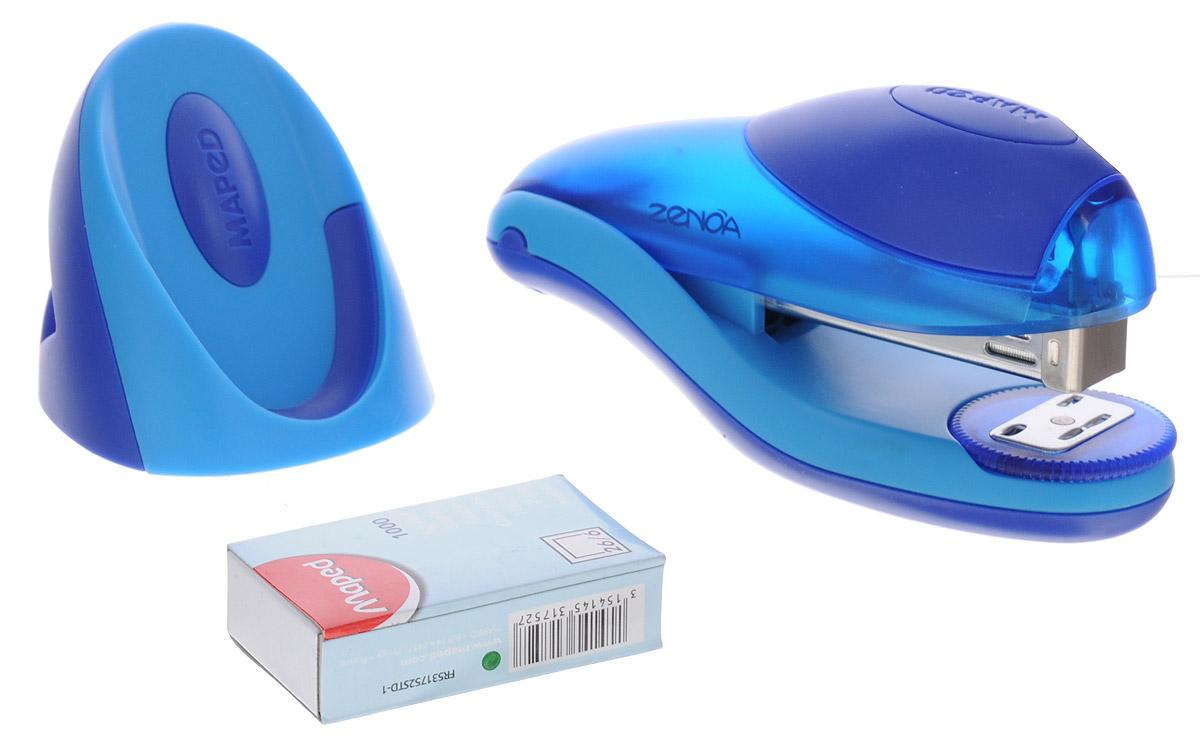 Maped Степлер для скоб Zenoa с подставкой синий голубойFS-36054Степлер для скоб Maped Zenoa эргономичной формы изготовлен из полупрозрачного пластика. В зоне давления руки - накладка из мягкого материала, механизм металлический. Степлер имеет два режима работы: сшивание в открытом виде и сшивание в закрытом виде. Скрепляет одновременно до 25 листов. Глубина закладки бумаги - до 6 мм.В комплект входят: подставка для степлера и скоб, а также одна упаковка скоб 26/6 мм.