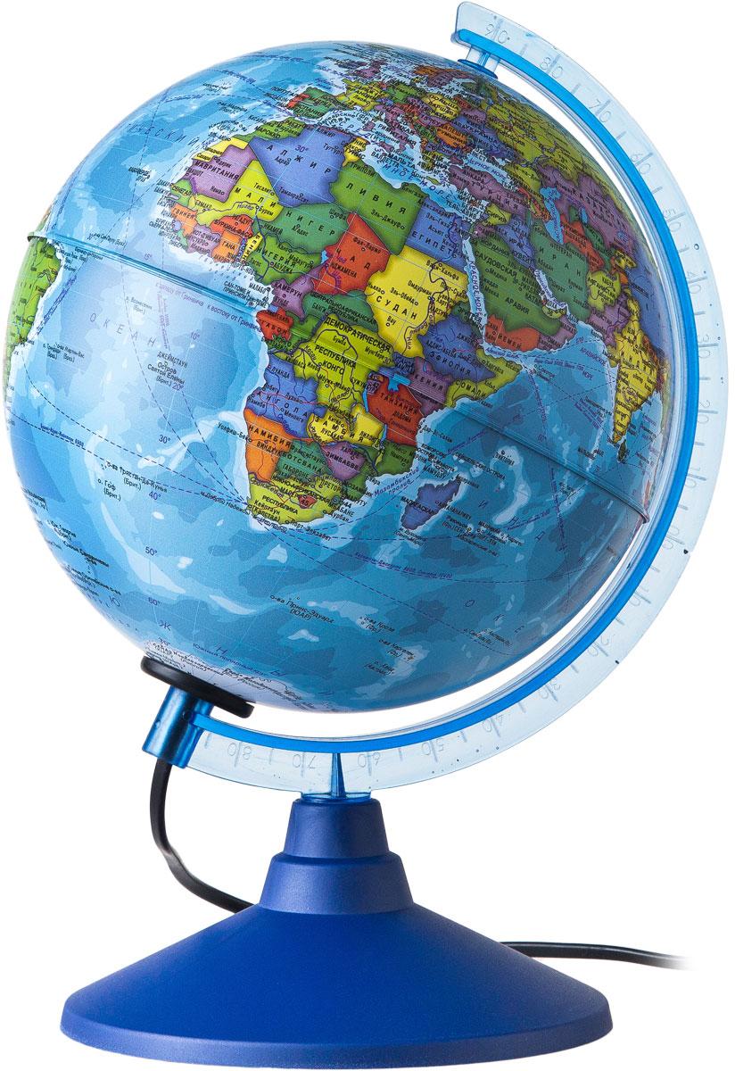 Globen Глобус Земли политический с подсветкой диаметр 210 мм Ке012100180Ке012100180Глобус - уменьшенная и понятная, даже детям, модель земного шара, помогает в развитии пространственного воображения и формирования правильного мировосприятия подрастающего поколения. Глобусы Globen изготавливаются из высококачественных материалов и являются отличным наглядным пособием для школьников и студентов.