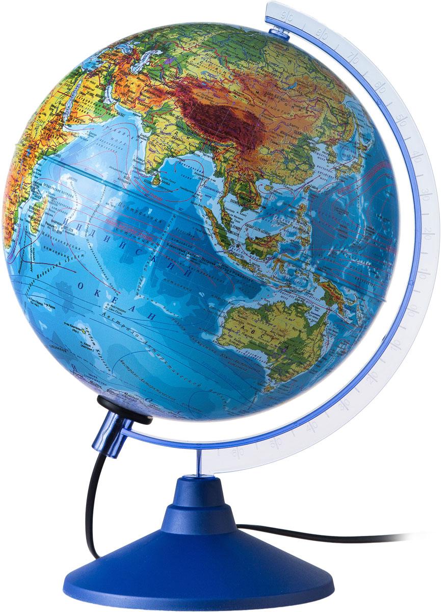 Globen Глобус Земли физико-политический с подсветкой диаметр 250 ммКе012500191Глобус - уменьшенная и понятная, даже детям, модель земного шара, помогает в развитии пространственного воображения и формирования правильного мировосприятия подрастающего поколения. Глобусы Globen изготавливаются из высококачественных материалов и являются отличным наглядным пособием для школьников и студентов.