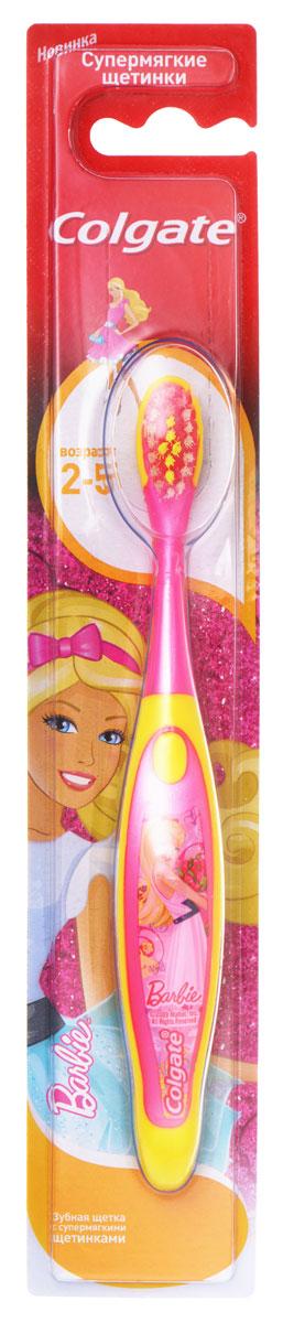 Colgate Зубная щетка Barbie/Spiderman детская от 2 до 5 лет супермягкие5010777142037Зубная щетка для детей, которые учатся правильно чистить зубы. Маленькая овальная головка. Супермягкие щетинки с закругленными кончиками обеспечат бережную чистку молочных зубов.