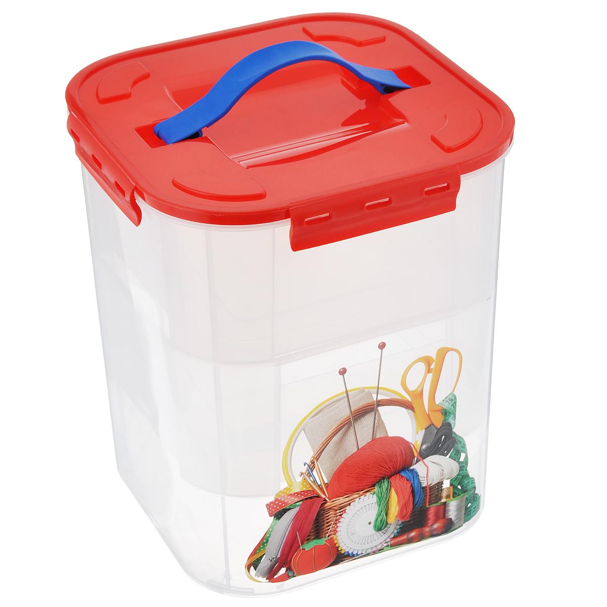 "Idea (М-пластика) Контейнер для хранения Idea ""Деко. Рукоделие"", с 2 вкладышами, 10 л М 2831_Рукоделие"