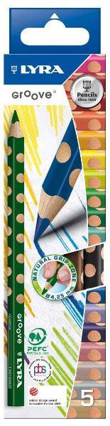 Цветные карандаши Lyra Groove, 5 цветовL3811050Цветные карандаши Lyra Groove непременно, понравятся вашему юному художнику. Набор включает в себя 5 ярких насыщенных утолщенных цветных карандаша треугольной формы с эргономичным захватом. Карандаши изготовлены из натурального сертифицированного дерева, экологически чистые. Имеют ударопрочный неломающийся высокопигментный грифель, не требующий сильного нажатия и легко затачиваются. Порадуйте своего ребенка таким восхитительным подарком! В комплекте: 5 карандашей (желтый, зеленый, синий, красный, черный).