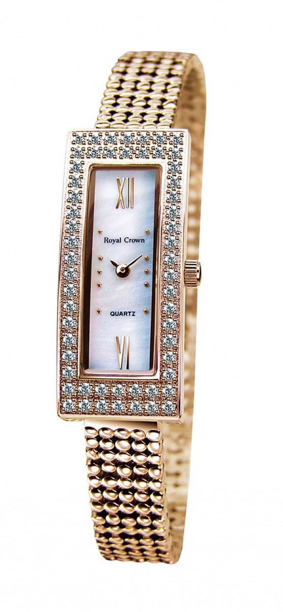 Часы наручные женские Royal Crown, цвет: золотой. 2311LS-RSG-62311LS-RSG-6Наручные кварцевые часы Royal Crown выполнены из высококачественного металла. Корпус оформлен вставками из страз. Браслет оснащен удобной металлической застежкой, которая надежно зафиксирует изделие на запястье. Часы оснащены минеральным, устойчивым к царапинам, стеклом с сапфировым напылением и задней крышкой из гипоаллергенной нержавеющей стали.