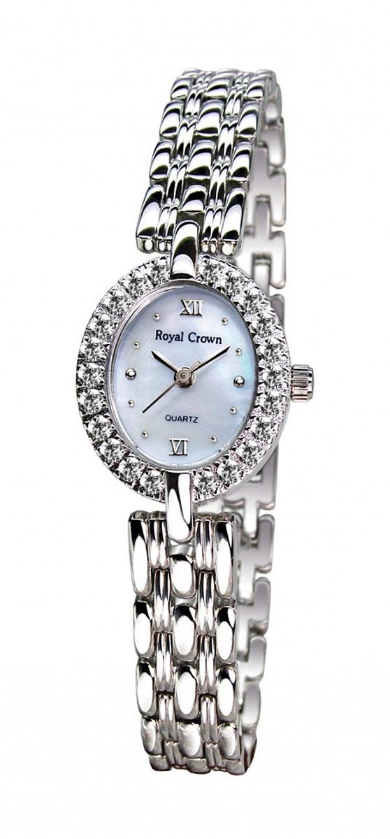 Часы женские наручные Royal Crown, цвет: серебряный, белый. 2100S-RDM-62100S-RDM-6Элегантные женские часы Royal Crown изготовлены из латуни нержавеющей стали и минерального стекла. Корпус изделия оформлен чешскими цирконами, циферблат дополнен перламутром. Корпус часов оснащен кварцевым механизмом, который имеет степень влагозащиты равную 3 Bar, а также устойчивым к царапинам минеральным стеклом. Практичный складной замок, предусмотренный в конструкции браслета, позволит снимать и надевать часы. Часы поставляются в фирменной упаковке. Часы Royal Crown подчеркнут изящность женской руки и отменное чувство стиля у их обладательницы.