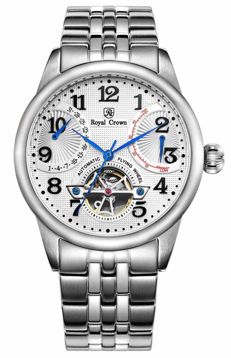Часы наручные мужские Royal Crown, цвет: серебристый. 8308S-A-RDM-6BP-001 BKНаручные механические мужские часы с автоподзаводом выполнены из высококачественной стали. Браслет оснащен удобной металлической застежкой, которая надежно зафиксирует изделие на запястье. Часы оснащены минеральным, устойчивым к царапинам, стеклом из сапфира.