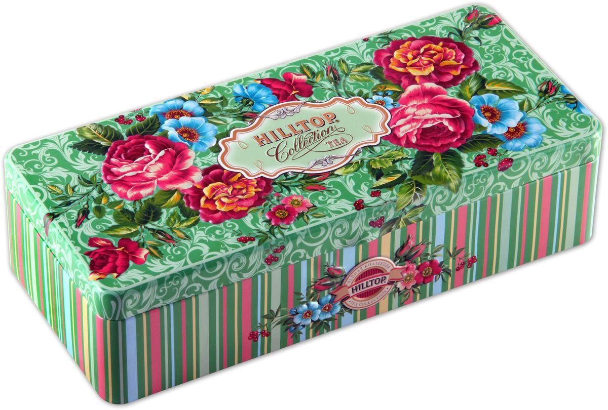 Hilltop Чайные розы чайный набор, 150 г4607099303157Hilltop Чайные розы поставляется в подарочной шкатулке с крышкой. Внутри 3 жестяные чайницы. Состав набора: Подарок Цейлона (50 г) — крупнолистовой цейлонский черный чай с глубоким, насыщенным вкусом и изумительным ароматом. Земляника со сливками (50 г) — крупнолистовой черный чай с листьями и плодами земляники, и со вкусом свежих сливок. Классика ароматизированных чаев. Попробуйте охлажденным, с добавлением кусочков льда. Крупнолистовой чай Эрл Грей (50 г) с цедрой лимона и ароматом бергамота - в лучших традициях Англии.