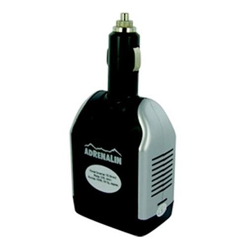 Инвертер автомобильный Adrenalin Power Inverter 75 DirectМ220Adrenalin Power Inverter 75 Direct - это розетка 220В в вашем автомобиле! Инвертер предназначен для питания и зарядки различных портативных электронных устройств. Выходной мощности хватит для работы с ноутбуком, видеокамерой, DVD-плеером, вы сможете заряжать аккумулятор мобильного телефона или других элементов питания. Прибор включается непосредственно в разъем автомобильного прикуривателя (только 12В!) и сразу же готов к работе. Прибор оснащен питающим USB-портом.