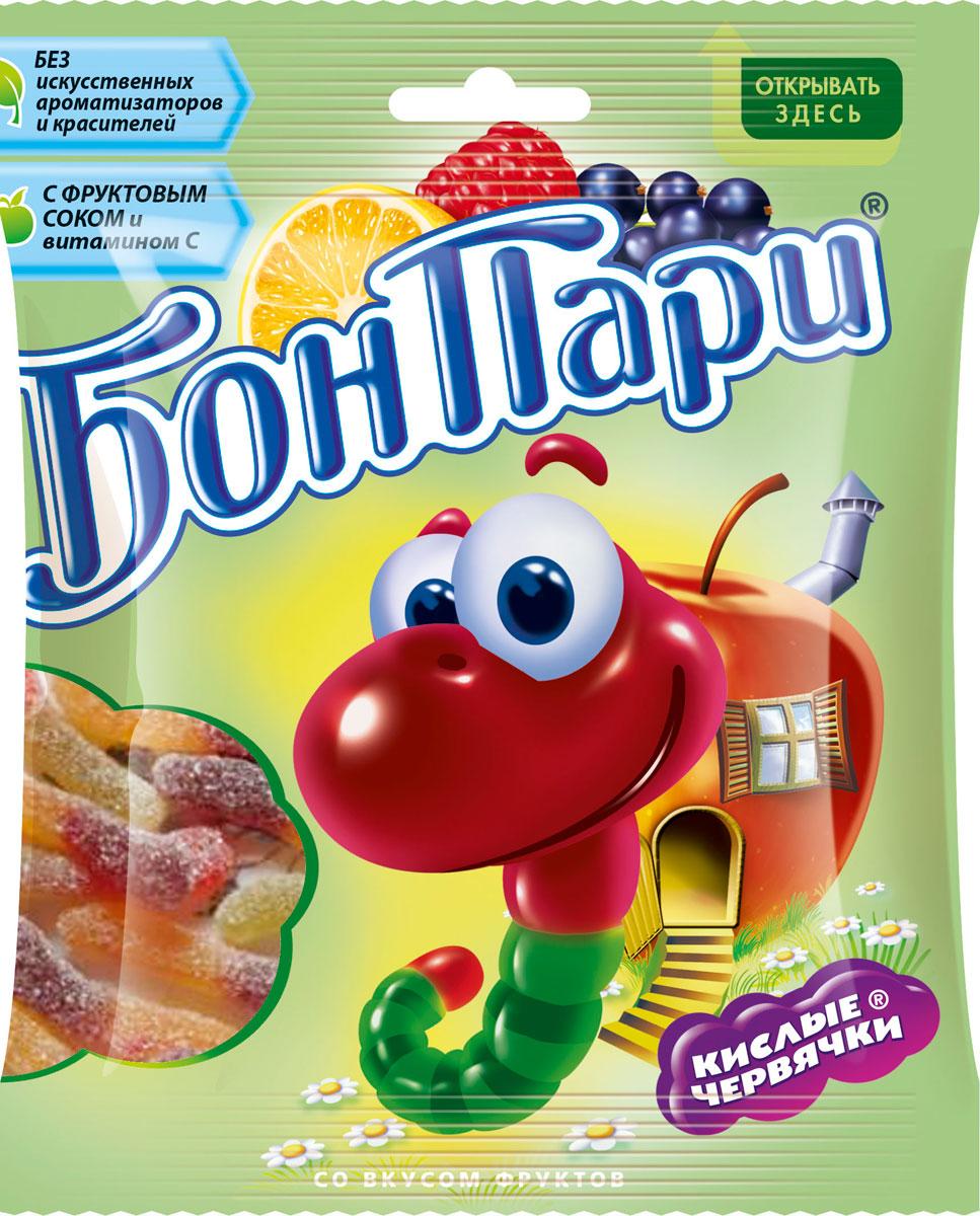 Бон Пари Кислые червячки мармелад жевательный, 75 г12194290Жевательный мармелад Бон Пари со вкусом фруктов в виде червячков в сахарной обсыпке. Не содержит искусственных красителей и ароматизаторов. С фруктовым соком. Продукт может содержать орехи, глютен, молоко и диоксид серы.