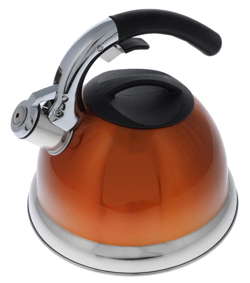 Чайник Mayer & Boch De Luxe со свистком, цвет: оранжевый, 3 л. 3113-23113-2Чайник Mayer & Boch De Luxe изготовлен из нержавеющей стали, что делает его гигиеничным и устойчивым к износу при длительном использовании. Эмалевая внешняя поверхность придает чайнику стильный внешний вид. Гладкая и ровная поверхность существенно облегчает уход за посудой. Чайник при кипячении сохраняет все полезные свойства воды. Изделие снабжено свистком, который подскажет, когда закипела вода. Удобная эргономичная ручка с прорезиненным покрытием обеспечивает удобный захват. Свисток поднимается с помощью специального рычага на ручке чайника. Чайник подходит для всех типов плит, кроме индукционных. Можно мыть в посудомоечной машине. Диаметр отверстия (по верхнему краю): 10 см. Высота (без учета ручки): 13,5 см. Высота (с учетом ручки): 22 см. Диаметр основания: 22 см.