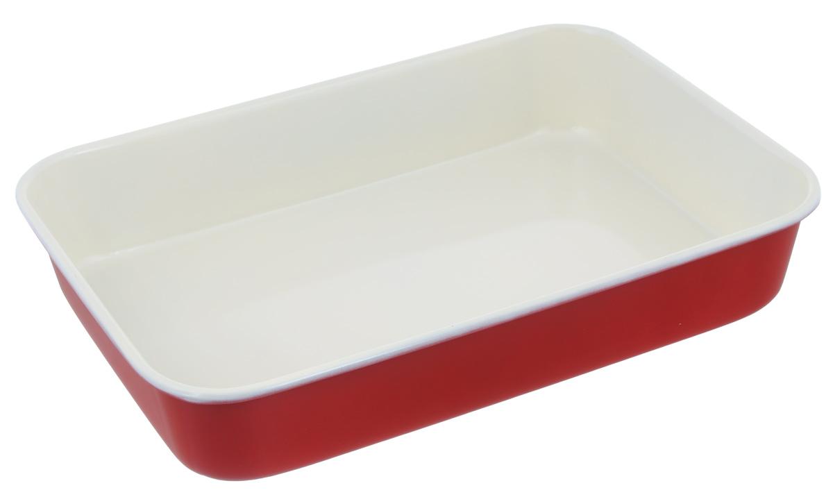 Противень Mayer & Boch, с керамическим покрытием, прямоугольный, цвет: красный, 40 х 28 х 7,6 см22255_красныйПротивень Mayer & Boch выполнен из высококачественной углеродистой стали и снабжен антипригарным керамическим покрытием, что обеспечивает ему прочность и долговечность. Противень равномерно и быстро прогревается, что способствует лучшему пропеканию пищи. Его легко чистить. Готовая выпечка без труда извлекается. Противень подходит для использования в духовке с максимальной температурой 250°С. Перед каждым использованием противень необходимо смазать небольшим количеством масла. Простой в уходе и долговечный в использовании противень Mayer & Boch станет верным помощником в создании ваших кулинарных шедевров. Не рекомендуется мыть в посудомоечной машине. Размер противня: 40 х 28 х 7,6 см. Толщина стенки противня: 0,6 мм.
