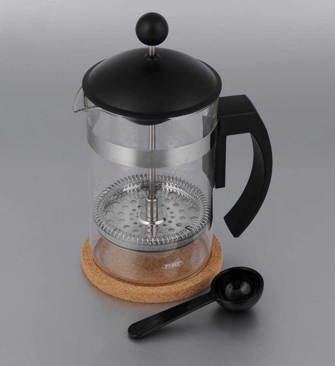 Френч-пресс Vitesse, с мерной ложкой, с подставкой, 850 млVS-1660 NEWФренч-пресс Vitesse поможет вам в приготовлении ароматного кофе или чая. Колба выполнена из термостойкого стекла, что позволяет наблюдать процесс настаивания и заваривания напитка, а также обеспечивает гигиеничность посуды. Внешний корпус, выполненный из нержавеющей стали, долговечен, прочен и устойчив к деформации и образованию царапин. Френч-пресс имеет удобную ручку, носик, а также мерную ложку, выполненную из пластика. Уникальный дизайн полностью соответствует последним модным тенденциям в создании предметов бытовой техники. В комплект входит пробковая подставка, которая обеспечит безопасное использование френч-пресса. Можно использовать в посудомоечной машине. Высота френч-пресса (без учета крышки): 15,5 см. Диаметр основания: 9 см. Диаметр (по верхнему краю): 9,5 см. Объем кофеварки: 850 мл. Длина ложки: 11 см. Размер подставки: 11 х 11 х 0,9 см.