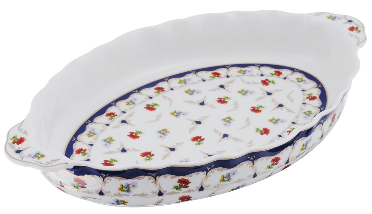 Блюдо Elan Gallery Цветочек, 30 х 18 х 4,5 см503698Блюдо Elan Gallery Цветочек выполнено из высококачественной керамики в традиционном цветочном дизайне с золотистой каймой. Размер этого блюда подходит и для подачи горячего, и для приготовления и хранения слоеных салатов, для заливного или холодца. Изумительное сервировочное блюдо станет изысканным украшением вашего праздничного стола.