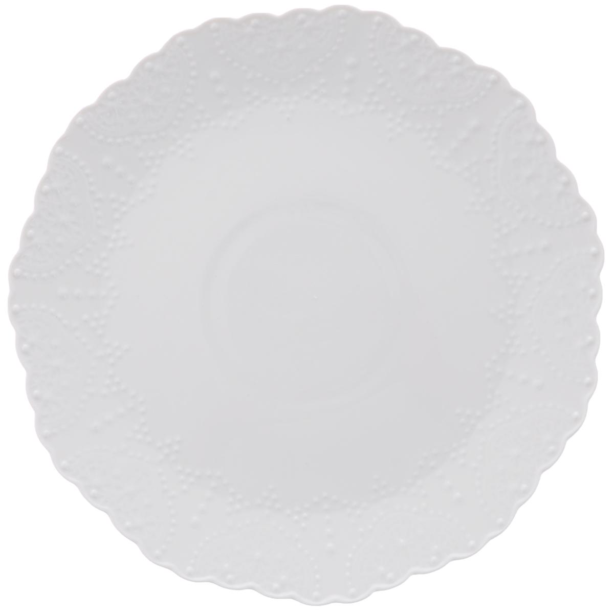 Тарелка обеденная Walmer Vivien, цвет: белый, диаметр 26 смW07230026Обеденная тарелка Walmer Vivien, изготовленная из высококачественного фарфора, имеет изысканный внешний вид. Яркий дизайн придется по вкусу и ценителям классики, и тем, кто предпочитает утонченность. Тарелка Walmer Vivien идеально подойдет для сервировки стола и станет отличным подарком к любому празднику. Диаметр (по верхнему краю): 26 см