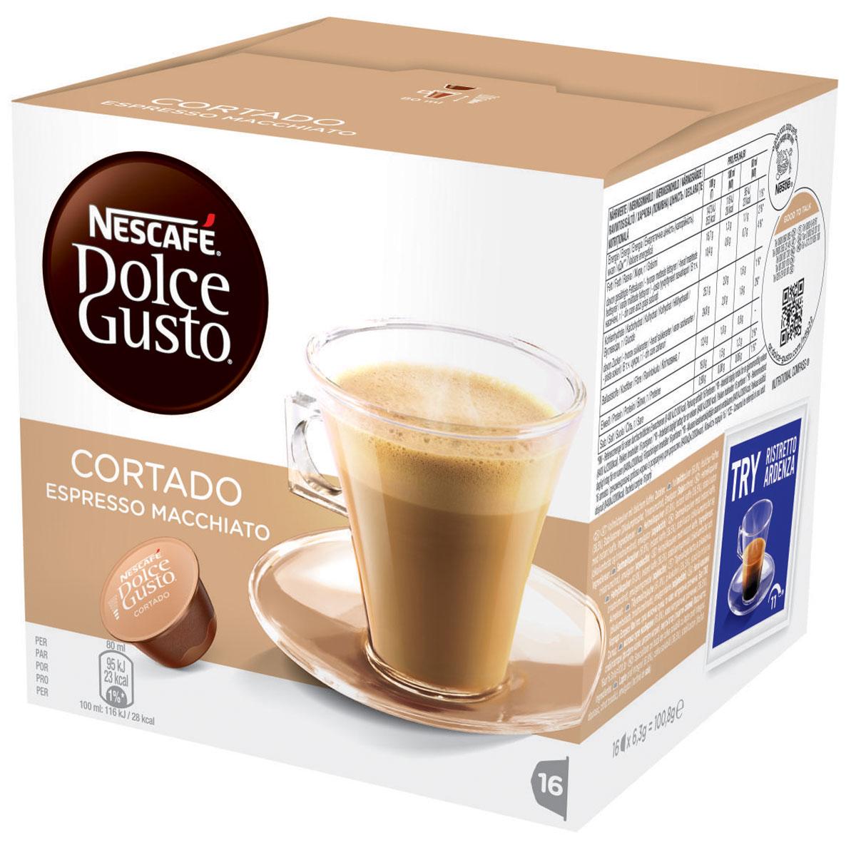 Nescafe Dolce Gusto Cortado (эспрессо с молоком) кофе в капсулах, 16 шт12121894Теплые и богатые напитки эспрессо макиато абсолютно изумительны. Испанцы называют их Cortado. Nescafe называет их вкусняшки. Эти продуманные напитки состоят из богатой композиции кофе и молока – все в одной капсуле. Идеальные для употребления на ходу или для долгого смакования в любое время дня – эти напитки эспрессо будут великолепным дополнением к любой кофейной коллекции. Натуральные, с ярким ароматом, капсулы эспрессо макиато сохраняют аппетитную насыщенность классического эспрессо, а молоко добавляет напитку нечто особенное. Бархатистая пенка – обязательное украшение для любого эспрессо, а у этого кофе она имеет фантастический вкус с самого первого глотка. Но самое лучшее то, что этот кофе чрезвычайно просто приготовить, поскольку и молоко, и композиция эспрессо искусно смешаны в одной капсуле.