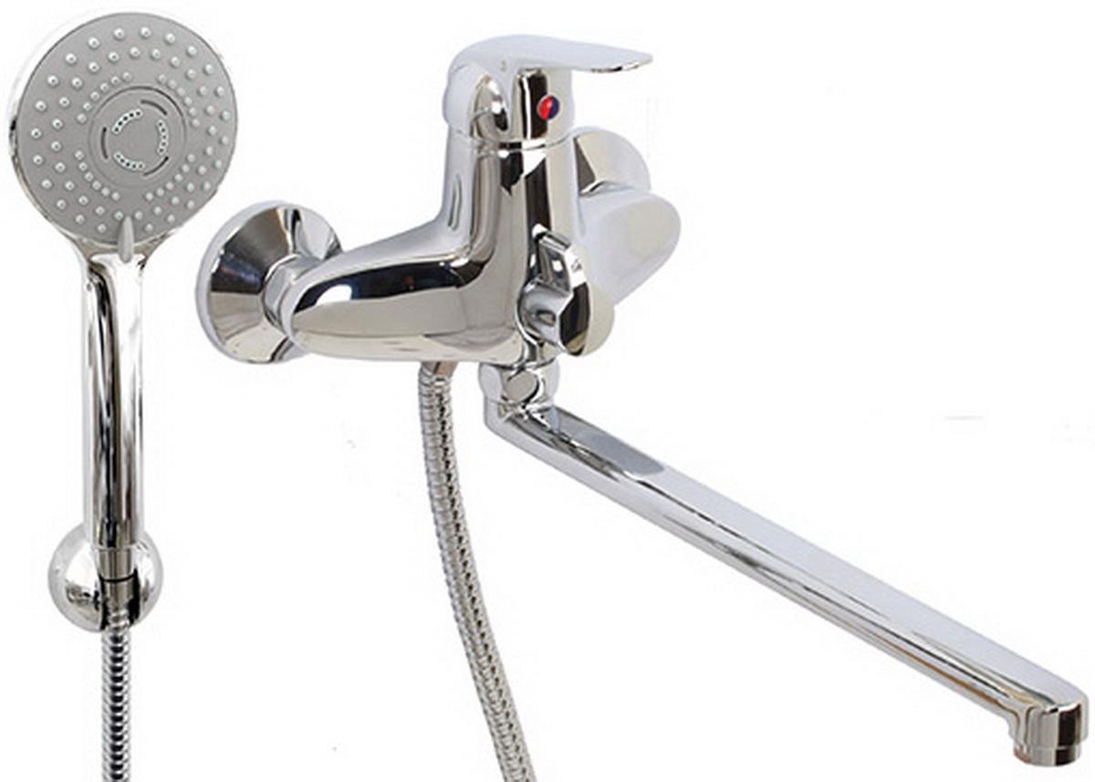 Argo смеситель для ванны и умывальника Echo, d-40, керамическийамбукса, L образный излив 325 мм  argo смеситель для ванны echo d 35