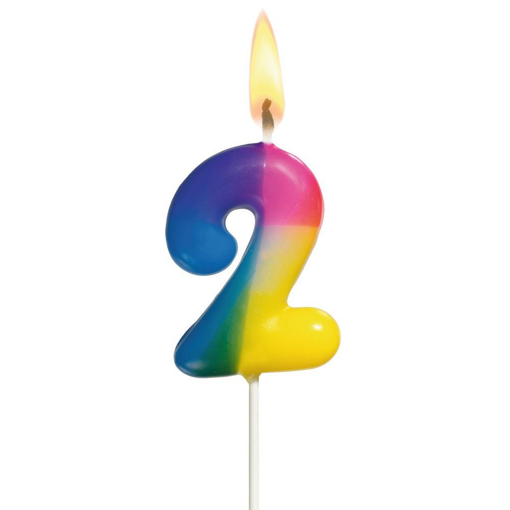 Susy Card Свеча-цифра для торта Радужная 2 года