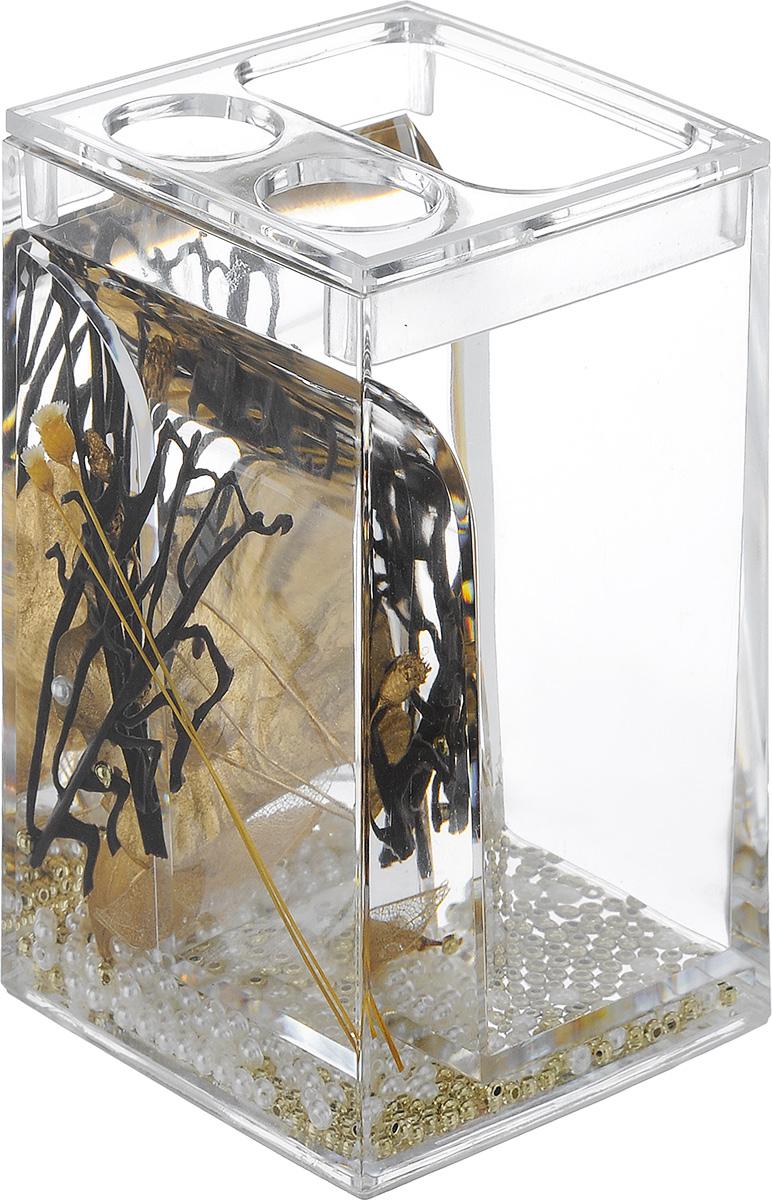 Стакан для зубных щеток Vanstore Aurum, высота 12,5 см384-02Оригинальный стакан для зубных щеток Vanstore Aurum, изготовленный из пластика, отлично подойдет для вашей ванной комнаты. Изделие имеет двойные стенки, между которыми находится прозрачный гелевый наполнитель с декоративными элементами. Стильный дизайн изделия притягивает взгляд и прекрасно подойдет к интерьеру ванной комнаты. Размер стакана: 6,5 х 6,5 х 12,5 см.