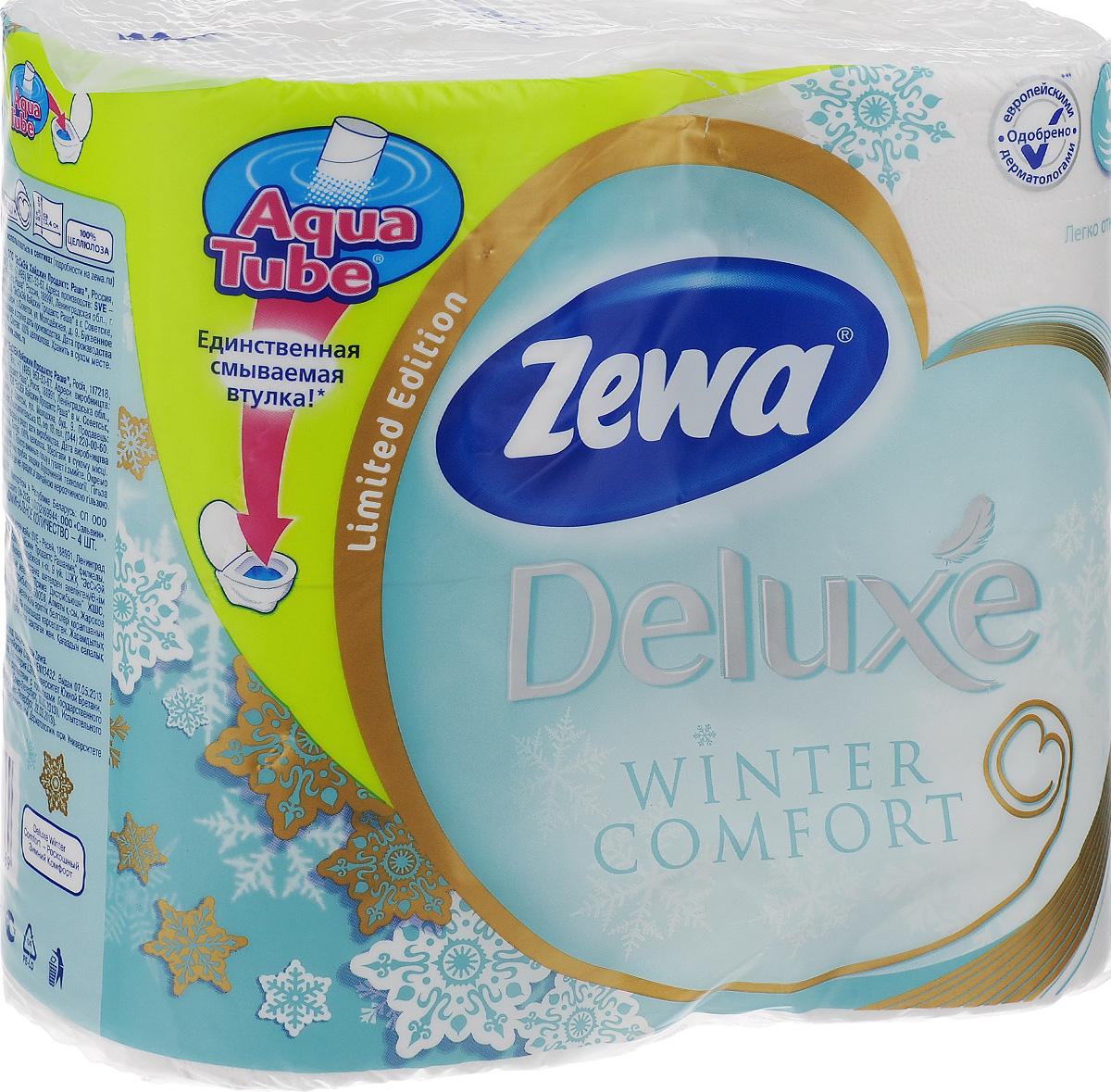 Туалетная бумага Zewa Deluxe. Winter Comfort, трехслойная, цвет: белый, 4 рулона03/1/12Трехслойная туалетная бумага Zewa Deluxe. Winter Comfort изготовлена из целлюлозы высшего качества. Мягкая, нежная, но в тоже время прочная, бумага не расслаивается и отрывается строго по линии перфорации. Рулоны оснащены смываемой биоразлагаемой втулкой. Бумага без аромата.Материал: 100% целлюлоза.Количество листов (в одном рулоне): 150 шт.Количество слоев: 3.Размер листа: 9,5 см х 13,4 см.Длина рулона: 20,1 м.