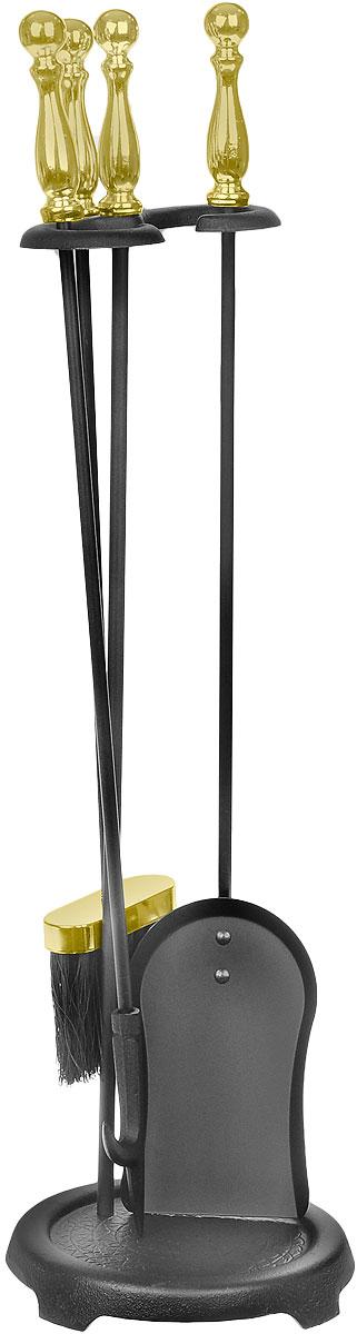 Набор каминный RealFlame, цвет: черный, латунный. 4010194672В каминный набор RealFlame входит кочерга, лопатка, щетка и подставка. Все изделия выполнены из высококачественного металла и имеют оригинальный дизайн. Набор может использоваться для натурального дровяного камина, а также как интерьерный элемент для электрического камина.Длина совка: 68 см.Длина щетки: 64 см.Длина кочерги: 68 см.