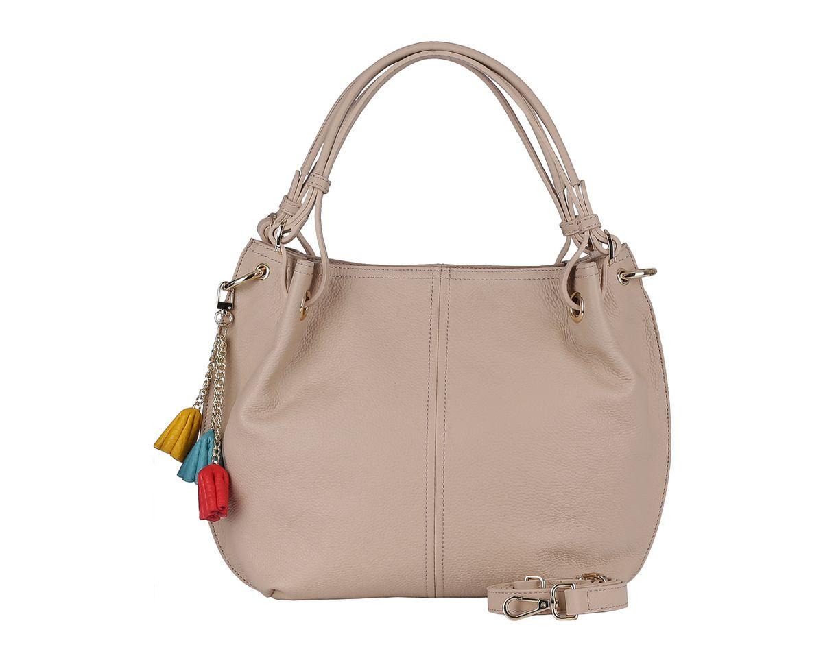 Сумка женская Fabretti, цвет: бежевый. F5393F5393 greyСтильная женская сумка Fabretti выполнена из натуральной кожи с зернистой фактурой, оформлена металлической фурнитурой и декоративной подвеской. Изделие содержит одно отделение, которое закрывается на молнию. Внутри изделия расположены два накладных кармашка для мелочей, врезной карман на молнии, карман-средник на молнии. Задняя сторона сумки дополнена врезным карманом на молнии. Сумка оснащена двумя практичными ручками регулируемой длины, а также съемным плечевым ремнем регулируемой длины. Оригинальный аксессуар позволит вам завершить образ и быть неотразимой.