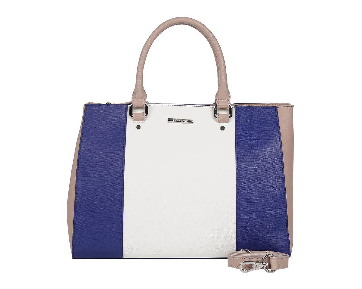 Сумка женская Galaday, цвет: белый, синий, бежевый. GD5218GD5218A-whiteСтильная женская сумка Galaday выполнена из натуральной кожи с фактурным тиснением, оформлена символикой бренда. Изделие содержит одно отделение, которое закрывается на молнию. Внутри расположены два накладных кармашка для мелочей, карман-средник на молнии и врезной карман на молнии. Снаружи, на задней стороне сумки, расположен врезной карман на застежке-молнии. Сумка оснащена двумя практичными ручками для переноски, которые крепятся к основанию сумки с помощью металлической фурнитуры, и съемным плечевым ремнем. Оригинальный аксессуар позволит вам завершить образ и быть неотразимой.