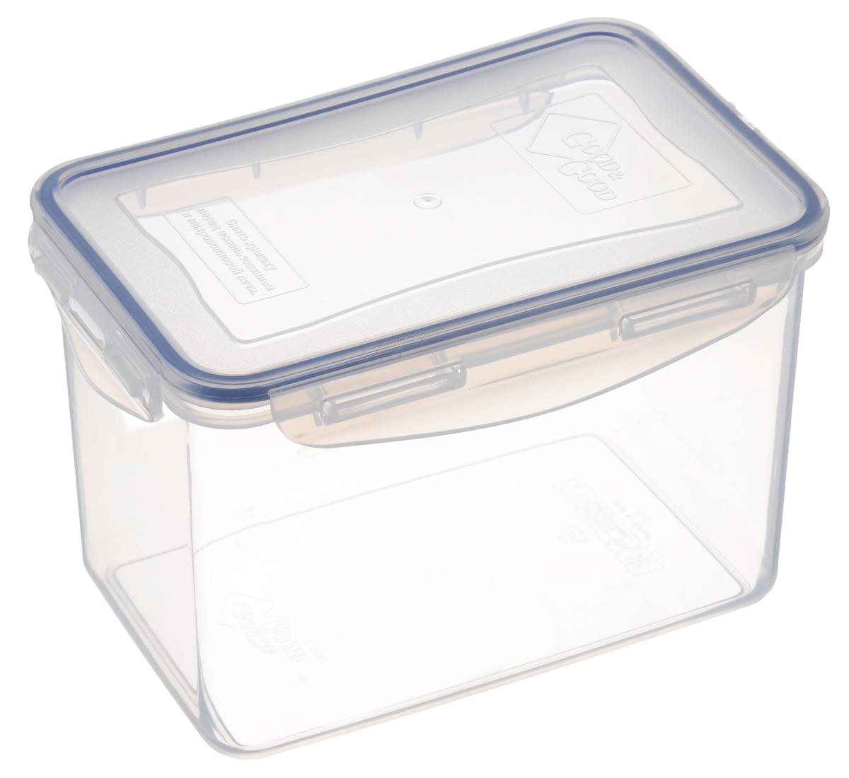 Контейнер для пищевых продуктов Good&Good, цвет: полупрозрачный, синий, 2,2 л. 3-3VT-1520(SR)Контейнер Good&Good, изготовленный из высококачественного полипропилена, предназначен для хранения любых пищевых продуктов. Крышка с силиконовой вставкой герметично защелкивается специальным механизмом. Изделие устойчиво к воздействию масел и жиров, легко моется. Полупрозрачные стенки позволяют видеть содержимое. Контейнер имеет возможность хранения продуктов глубокой заморозки, обладает высокой прочностью. Контейнер Good&Good удобен для ежедневного использования в быту.Можно мыть в посудомоечной машине и использовать в холодильнике и микроволновой печи.Размер контейнера (с учетом крышки): 20 х 13,5 х 13 см.