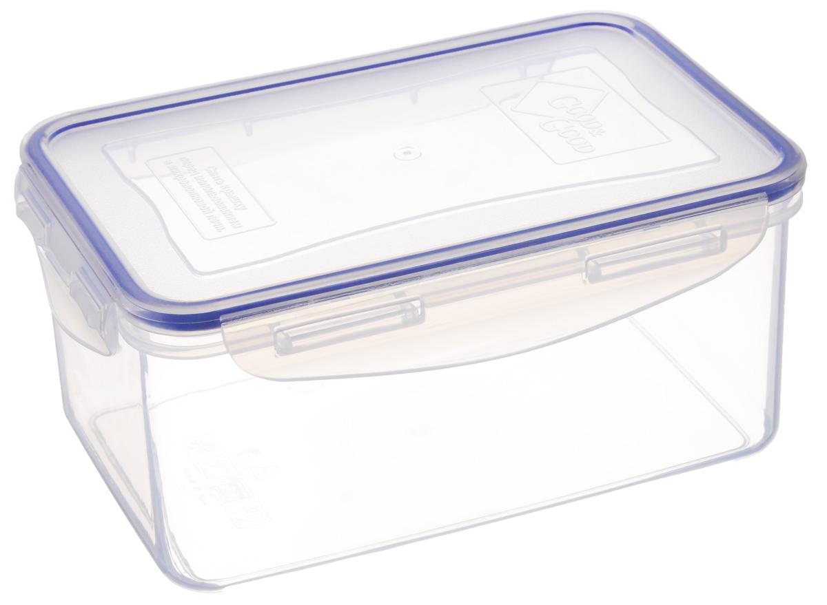 Контейнер для пищевых продуктов Good&Good, цвет: прозрачный, синий, 1,5 л. 3-23-2_прозрачный, синийКонтейнер Good&Good, изготовленный из высококачественного полипропилена, предназначен для хранения любых пищевых продуктов. Крышка с силиконовой вставкой герметично защелкивается специальным механизмом. Изделие устойчиво к воздействию масел и жиров, легко моется. Контейнер имеет возможность хранения продуктов глубокой заморозки, обладает высокой прочностью. Контейнер Good&Good удобен для ежедневного использования в быту. Можно мыть в посудомоечной машине и использовать в холодильнике и микроволновой печи. Размер контейнера (с учетом крышки): 13,5 х 20 х 9 см.