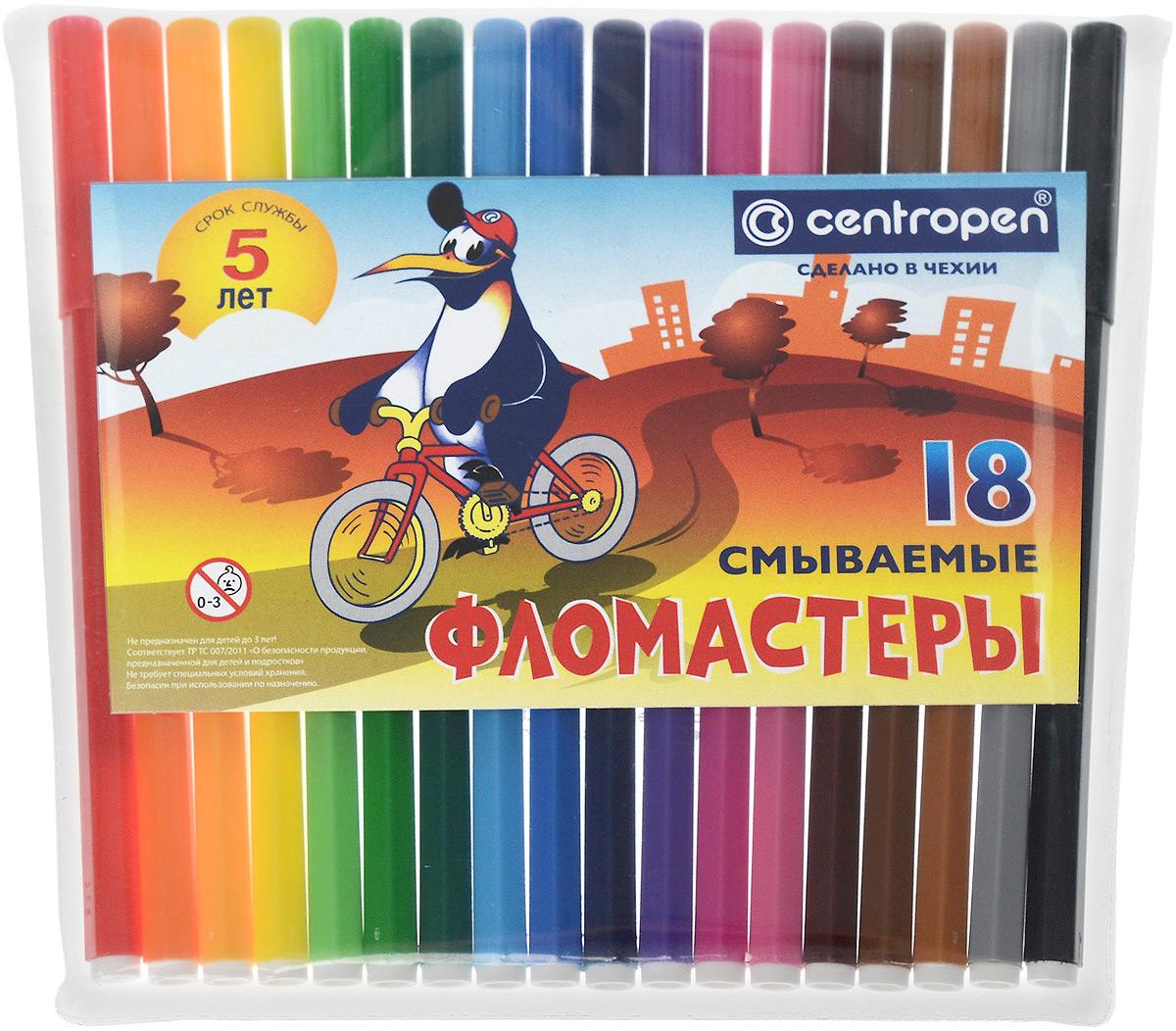Фломастеры 18 цветов Centropen ПИНГВИНЫ в пластиковом пакете7790P 1886След чернил может быть легко смыт водой с мылом или отстиран с тканей. Яркие цвета делают этот набор незаменимым для развития творческих способностей у детей.