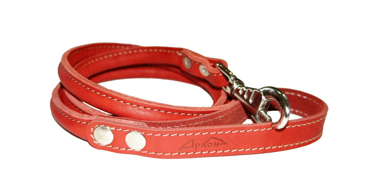 Поводок для собак Аркон Стандарт, цвет: красный, ширина 1,6 см, длина 140 см. пкпккрКруглый поводок для собак Аркон Стандарт изготовлен из высококачественной натуральной кожи. Карабин выполнен из легкого сверхпрочного сплава. Изделие отличается не только исключительной надежностью и удобством, но и привлекательным современным дизайном. Поводок - необходимый аксессуар для собаки. Ведь в опасных ситуациях именно он способен спасти жизнь вашему любимому питомцу. Иногда нужно ограничивать свободу своего четвероногого друга, чтобы защитить его или себя от неприятностей на прогулке. Длина поводка: 140 см. Ширина поводка: 1,6 см.