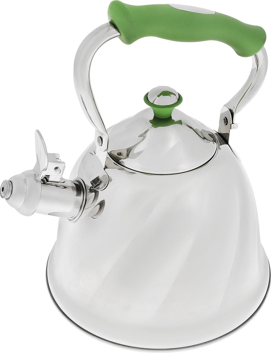 Чайник Mayer & Boch, со свистком, цвет: стальной, зеленый, 3 л23778Чайник выполнен из высококачественной нержавеющей стали 18/10. Капсулированное дно с прослойкой из алюминия обеспечивает наилучшее распределение тепла. Носик чайника оснащен насадкой-свистком, что позволит вам контролировать процесс подогрева или кипячения воды. Чайник Mayer & Boch выполнен из высококачественной нержавеющей стали, что обеспечивает долговечность использования. Изделие имеет рельефные стенки и глянцевую полировку. Прорезиненная ручка делает использование чайника очень удобным и безопасным. Изделие снабжено свистком. Чайник пригоден для использования на газовых, электрических, стеклокерамических, галогеновых плитах. Можно мыть в посудомоечной машине. Высота стенок чайника: 14 см. Общая высота чайника (с учетом ручки): 27 см.