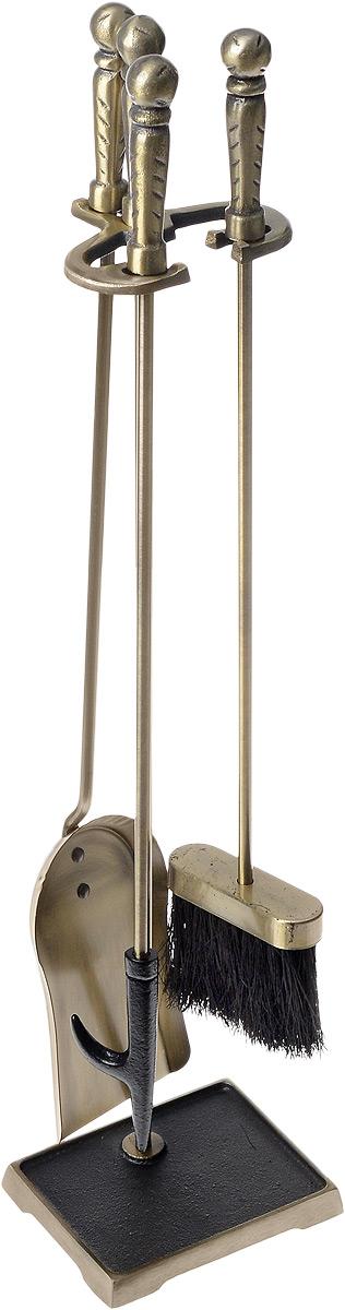 Набор для камина RealFlame, цвет: бронзовый, 4 предмета41140 ABНабор для камина RealFlame состоит из совка, кочерги и щетки, которые компактно размещаются на специальной подставке. Предметы набора выполнены из высококачественного металла. Рукоятки оснащены массивными металлическими вставками для более удобного использования и подвешивания на подставку. Благодаря такому набору для камина вы сохраните чистоту в помещении, а оригинальный дизайн предметов набора поможет вам создать уютный интерьер. Средняя длина предметов набора: 62 см. Размер подставки: 74 см х 16 см х 12 см.