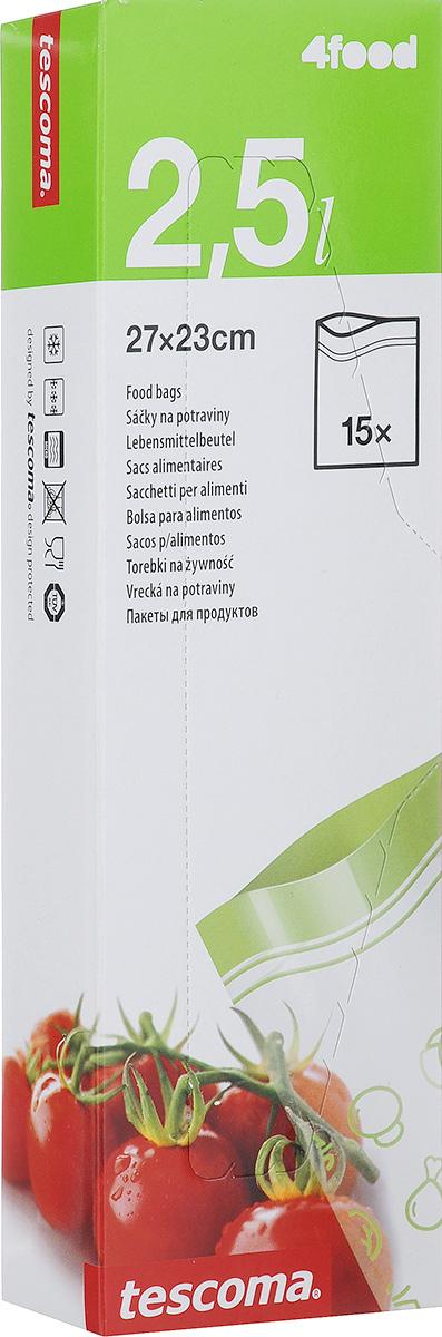Пакеты для хранения продуктов Tescoma 4FOOD, 23 х 27 см, 15 штVT-1520(SR)Пакеты для хранения продуктов Tescoma 4FOOD, изготовленные из высококачественного прочного пластика, предназначены для хранения продуктов в холодильнике или морозильной камере, а также для использования в приоткрытом виде в микроволновой печи. Специальная застежка делает пакеты абсолютно герметичными, теперь вы сможете забыть о неприятном запахе в холодильнике, а все содержимое будет храниться гораздо дольше. На самих пакетах можно сделать надпись маркером, которая легко стирается влажной губкой.Пакеты для хранения продуктов Tescoma 4FOOD - удобный и практичный вид современной упаковки, предназначенный для хранения продуктов.Размер пакетов: 23 х 27 см.